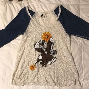 Free People 3/4 length Embroidered + Lace Top